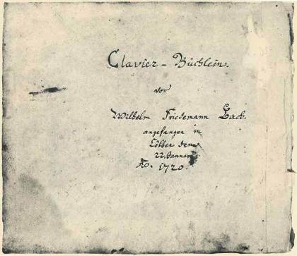 Clavier-Büchlein vor Wilhelm Friedemann Bach címlap