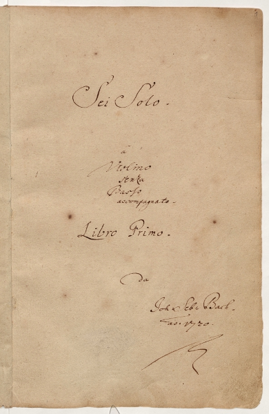 "Sonatas and Partitas for Solo Violin (""Six Solos"") title page"